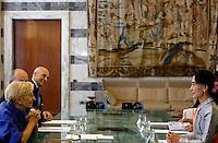 L'attivista birmana e vincitrice del Premio Nobel per la Pace Aung San Suu Kyi incontra il Ministro degli Esteri Emma Bonino, a sinistra, alla Farnesina, Roma, 28 ottobre 2013.<br /> Burmese opposition leader and Nobel Prize laureate Aung San Suu Kyi meets Italian Foreign Minister Emma Bonino, left, at the Farnesina Foreign Ministry headquarters in Rome, 28 October 2013.<br /> UPDATE IMAGES PRESS/Riccardo De Luca