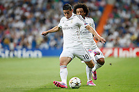 James and Marcelo of Real Madrid during the Champions League group B soccer match between Real Madrid and FC Basel 1893 at Santiago Bernabeu Stadium in Madrid, Spain. September 16, 2014. (ALTERPHOTOS/Caro Marin) /NortePhoto.com