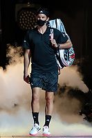 15th November 2020, O2, London, England;  Dominic Thiem of Austria enters the court before the singles group match against StefanTsitsipas of Greece at the ATP, Tennis Mens World Tour Finals 2020 in London
