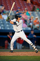 Connecticut Tigers right fielder Ulrich Bojarski (26) at bat during a game against the Lowell Spinners on August 26, 2018 at Dodd Stadium in Norwich, Connecticut.  Connecticut defeated Lowell 11-3.  (Mike Janes/Four Seam Images)