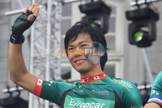 Yukiya Arashiro (JPN) Team Europcar on stage at the Team Presentation Ceremony before the 2012 Tour de France in front of The Palais Provincial, Place Saint-Lambert, Liege, Belgium. 28th June 2012.<br /> (Photo by Eoin Clarke/NEWSFILE)