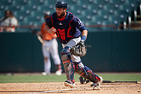 Binghamton Rumble Ponies catcher Dustin Houle (14) looks to field a bunt during an Eastern League game against the Bowie Baysox on August 21, 2019 at Prince George's Stadium in Bowie, Maryland.  Bowie defeated Binghamton 7-6 in ten innings.  (Mike Janes/Four Seam Images)