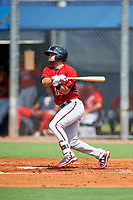 GCL Twins left fielder Alex Robles (16) reaches on an error during the first game of a doubleheader against the GCL Rays on July 18, 2017 at Charlotte Sports Park in Port Charlotte, Florida.  GCL Twins defeated the GCL Rays 11-5 in a continuation of a game that was suspended on July 17th at CenturyLink Sports Complex in Fort Myers, Florida due to inclement weather.  (Mike Janes/Four Seam Images)