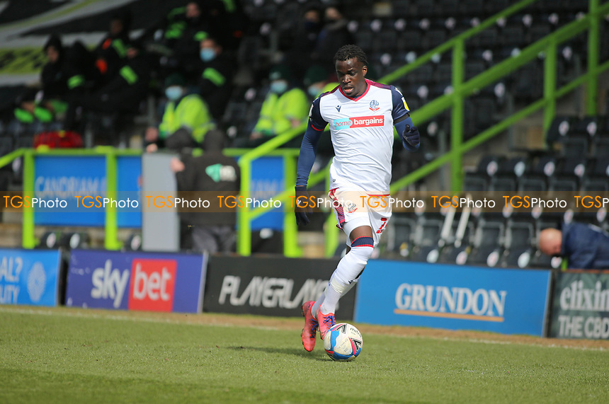 Bolton Wanderers's Arthur Gnahoua  during Forest Green Rovers vs Bolton Wanderers, Sky Bet EFL League 2 Football at The New Lawn on 27th March 2021