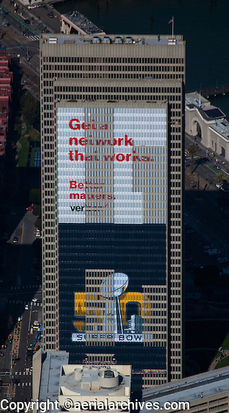 aerial photograph of the Embarcadero Center, Tower Four with Verizon Banner, during Superbowl 50, San Francisco, California