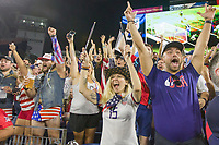 NASHVILLE, TN - SEPTEMBER 5: USA Fans celebrate their team's goal during a game between Canada and USMNT at Nissan Stadium on September 5, 2021 in Nashville, Tennessee.
