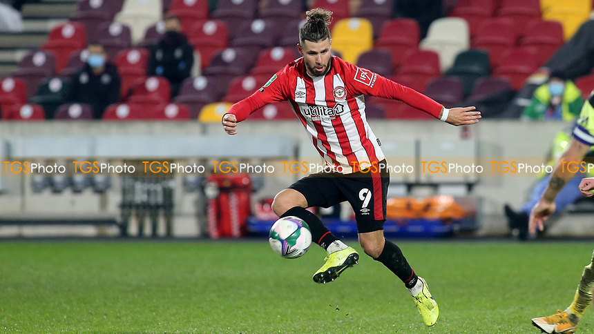 Emiliano Marcondes of Brentford in action during Brentford vs Newcastle United, Carabao Cup Football at the Brentford Community Stadium on 22nd December 2020