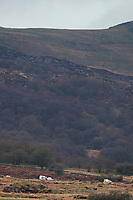Pictured: Emergency vehicles near the scene of a helicopter crash, Trawsfynydd, Rhinog Mountains, Snowdonia, North Wales. Thursday 30 March 2017<br /> Re: Five people have been killed in a helicopter crash in north Wales.<br /> An air and land search was launched on Wednesday afternoon after the aircraft vanished en route from Luton to Dublin.<br /> The crash site was in the Rhinog mountains between Harlech and Trawsfynydd, and the bodies of all five people on board had been found by a mountin rescue team.