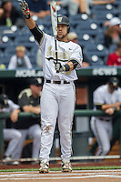 Vanderbilt Commodores first baseman Zander Wiel (43) at bat during the NCAA College baseball World Series against the Cal State Fullerton Titans on June 15, 2015 at TD Ameritrade Park in Omaha, Nebraska. Vanderbilt beat Cal State Fullerton 4-3. (Andrew Woolley/Four Seam Images)