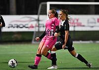 Megane Vos (20 Charleroi) pictured in a duel with Aalst's Daisy Baudewijns during a female soccer game between Sporting Charleroi and Eendracht Aalst on the 8th  matchday of the 2020 - 2021 season of Belgian Scooore Womens Super League , friday 20 th of November 2020  in Marcinelle , Belgium . PHOTO SPORTPIX.BE | SPP | DAVID CATRY