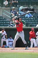 Joe Aeilts (2) of the Fresno Grizzlies bats against the Inland Empire 66ers at San Manuel Stadium on May 25, 2021 in San Bernardino, California. (Larry Goren/Four Seam Images)
