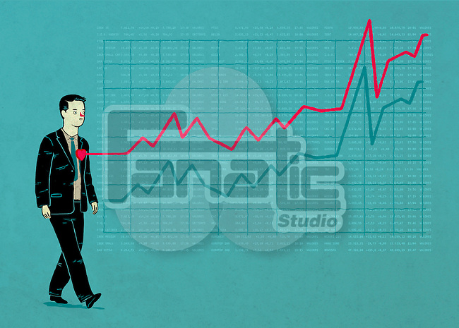 Illustrative image of businessman with line graph representing ups and downs