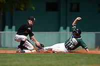 Edgewood Eagles Brodie Engel (3) tags Luke Mancini (19) sliding into third during the second game of a doubleheader against the Plymouth State Panthers on March 17, 2015 at Terry Park in Fort Myers, Florida.  Edgewood defeated Plymouth State 9-2.  (Mike Janes/Four Seam Images)