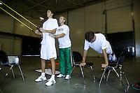 18-9-07, Rotterdam, Daviscup NL-Portugal, training, Robin Haase en Jesse Huta Galung(r) werken aan hun fitness