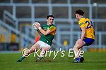 Paudie Clifford, Kerry, in action against Cillian Rouine, Clare, during the Munster Football Championship game between Kerry and Clare at Fitzgerald Stadium, Killarney on Saturday.