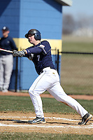 Genesee Community College Cougars third baseman Zach Ranta #7 hits a home run during a game against the Ithaca JV team at Genesee Community College on April 9, 2011 in Batavia, New York.  Photo By Mike Janes/Four Seam Images
