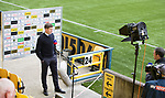 16.08.2020 Livingston v Rangers: Rangers manager Steven Gerrard doing a pre match interview with TV