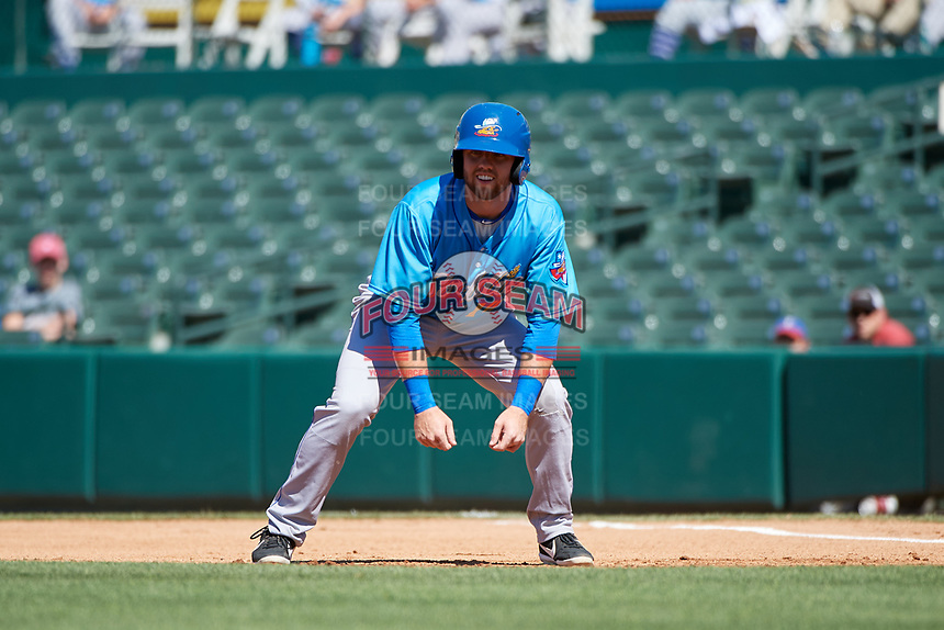 Amarillo Sod Poodles Owen Miller (14) leads off first base during a Texas League game against the Frisco RoughRiders on May 19, 2019 at Dr. Pepper Ballpark in Frisco, Texas.  Amarillo defeated Frisco 10-5.  (Mike Augustin/Four Seam Images)