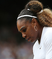 Serena Williams (USA) during her match with Andy Murray (GBR) against Andreas Mies (GER) & Alexa Guarachi (CHI) in their Mixed Doubles First Round Match<br /> <br /> Photographer Rob Newell/CameraSport<br /> <br /> Wimbledon Lawn Tennis Championships - Day 6 - Saturday 6th July 2019 -  All England Lawn Tennis and Croquet Club - Wimbledon - London - England<br /> <br /> World Copyright © 2019 CameraSport. All rights reserved. 43 Linden Ave. Countesthorpe. Leicester. England. LE8 5PG - Tel: +44 (0) 116 277 4147 - admin@camerasport.com - www.camerasport.com