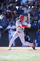 Miguel Aparicio (36) of the Spokane Indians bats against the Hillsboro Hops at Ron Tonkin Field on July 22, 2017 in Hillsboro, Oregon. Spokane defeated Hillsboro, 11-4. (Larry Goren/Four Seam Images)
