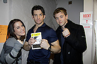General Hospital's Kristen Alderson and Chad Duell  pose with Andy Karl (star of Rocky) as they came into New York City to see Broadway's Rocky on April 25, 2014 starring Andy Karl  and then went backstage to meet the actors. Photos were taken backstage and on stage. . (Photo by Sue Coflin/Max Photos)