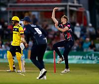 James Logan bowls for Kent during Kent Spitfires vs Hampshire Hawks, Vitality Blast T20 Cricket at The Spitfire Ground on 9th June 2021
