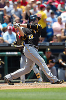 Pittsburgh Pirates  second baseman Neil Walker #18 swings during the Major League Baseball game against the Philadelphia Phillies on June 28, 2012 at Citizens Bank Park in Philadelphia, Pennsylvania. The Pirates defeated the Phillies 5-4. (Andrew Woolley/Four Seam Images).