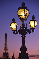 France Paris Street lights at dusk