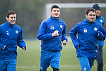 St Johnstone Training….31.03.17<br />Graham Cummins pictured during training with Blair Alston and Paul Paton on the astroturf at McDiarmid Park this morning ahead of tomorrow's game at Hamilton.<br />Picture by Graeme Hart.<br />Copyright Perthshire Picture Agency<br />Tel: 01738 623350  Mobile: 07990 594431