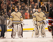 Parker Milner (BC - 35), Brad Barone (BC - 29) - The Boston College Eagles defeated the Northeastern University Huskies 6-3 for their fourth consecutive Beanpot championship on Monday, February 11, 2013, at TD Garden in Boston, Massachusetts.