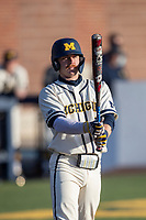 Michigan Wolverines catcher Griffin Mazur (13) at the plate during the NCAA baseball game against the Illinois Fighting Illini at Fisher Stadium on March 19, 2021 in Ann Arbor, Michigan. Illinois won the game 7-4. (Andrew Woolley/Four Seam Images)