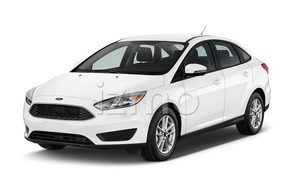 2015 Ford Focus SE Sedan 4 Door Sedan Angular Front stock photos of front three quarter view