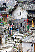 Linkeng, Zhejiang, China.  Street Scene.  Foreign Tourists Visiting the Village, Population 460.