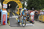 Robert Kiserlovski (CRO) Astana powers off the start ramp of the Prologue of the 99th edition of the Tour de France 2012, a 6.4km individual time trial starting in Parc d'Avroy, Liege, Belgium. 30th June 2012.<br /> (Photo by Eoin Clarke/NEWSFILE)