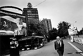 Belgarde, Serbia<br /> October 2000<br /> <br /> Defaced election posters for former President Slobodan Milosevic remain in the streets after protesters defended the election vote.