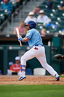 Buffalo Bisons Santiago Espinal (2) squares to bunt during an International League game against the Pawtucket Red Sox on August 25, 2019 at Sahlen Field in Buffalo, New York.  Buffalo defeated Pawtucket 5-4 in 11 innings.  (Mike Janes/Four Seam Images)