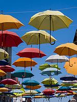 kroatische Minderheit, Regenschirme als Dekoration in Sombor, Vojvojina, Serbien, Europa<br /> Croatian Minority, Umbrella decoration, Sombor,, Vojvodina, Serbia, Europe