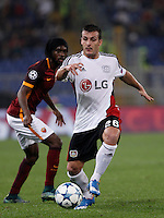 Calcio, Champions League, Gruppo E: Roma vs Bayer Leverkusen. Roma, stadio Olimpico, 4 novembre 2015.<br /> Bayer Leverkusen's Giulio Donati, right, in action past Roma's Gervinho during a Champions League, Group E football match between Roma and Bayer Leverkusen, at Rome's Olympic stadium, 4 November 2015.<br /> UPDATE IMAGES PRESS/Isabella Bonotto