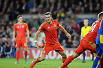 UEFA EURO 2016 Qualifier match between Wales and Andorra at Cardiff City Stadium in Cardiff : <br /> Gareth Bale turns to celebrate after scoring for Wales late in the second half.
