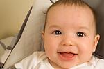 5 month old baby boy closeup portrait smiling