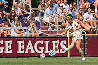 NEWTON, MA - SEPTEMBER 12: Sarai Costello #28 of Boston College passes the ball during a game between Holy Cross and Boston College at Newton Campus Soccer Field on September 12, 2021 in Newton, Massachusetts.