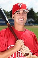 Williamsport Crosscutters infielder Jeff Cusick (39) poses for a photo in Phillies gear before a game vs the Batavia Muckdogs at Dwyer Stadium in Batavia, New York July 26, 2010.   Batavia defeated Williamsport 3-2.  Photo By Mike Janes/Four Seam Images