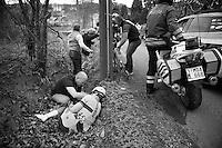Russian Champion Vladimir Isaichev (RUS/Katusha) crashed into a ditch <br /> <br /> Ronde van Vlaanderen 2014