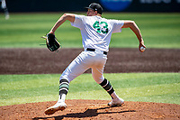 Wright State Raiders pitcher Tristan Haught (43) delivers a pitch to the plate against the Duke Blue Devils in NCAA Regional play on Robert M. Lindsay Field at Lindsey Nelson Stadium on June 5, 2021, in Knoxville, Tennessee. (Danny Parker/Four Seam Images)