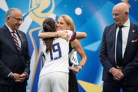 LYON, FRANCE - JULY 07: Alex Morgan and Kristine Lilly during a game between Netherlands and USWNT at Stade de Lyon on July 07, 2019 in Lyon, France.