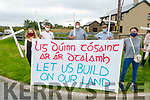 Attending the protest against rural planning policies outside John Mitchels GAA club before Council meeting on Monday. Front l to r: Catherine Mulvihill and Sibeal Ni Lubhaing, holding the flag. Back l to r: Brendain O'Connor, Eoin O'Slattara and TP O'Connor.
