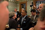 Roland Burris, Gov. Rod Blagojevich's choice to fill Barack Obama's Senate seat, center, greets committee chairwoman Illinois House Majority Leader Rep. Barbara Flynn Currie, D-Chicago, after appearing before the House impeachment committee on their seventh day of hearings at the Illinois State Capitol in Springfield, Ill., January 8, 2009. .Kristen Schmid Schurter