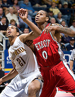 11 November 2009:  Xavier Keeling of Detroit in action during the game against California at Haas Pavilion in Berkeley, California.   California defeated Detroit, 95-61.