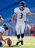 21 October 2007: Baltimore Ravens kicker Matt Stover warms up prior to a game against the Buffalo Bills at Ralph Wilson Stadium in Orchard Park, NY. The Bills defeated the Ravens 19-14 in front of 70,727 fans for their second win of the 2007 season...Mandatory Photo Credit: Ed Wolfstein Photo