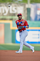 Buffalo Bisons second baseman Devon Travis (2) throws to first base during a game against the Scranton/Wilkes-Barre RailRiders on May 18, 2018 at Coca-Cola Field in Buffalo, New York.  Buffalo defeated Scranton/Wilkes-Barre 5-1.  (Mike Janes/Four Seam Images)